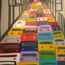 Unfinished Traffic-Jam, 7' x 6', XL Painting, One Of A Kind, Hand Made