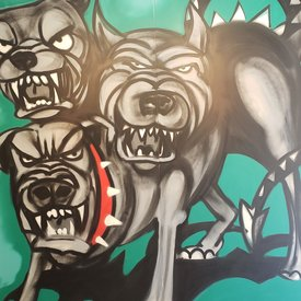 Unfinished Triple-Trouble, 7' x 6', XL Painting, One Of A Kind, Hand Made