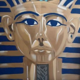 Unfinished Tutankhamun, 7' x 6', XL Painting, One Of A Kind, Hand Made