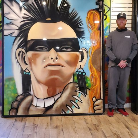 Warrior, 7' x 6', XL Painting, One Of A Kind, Hand Made