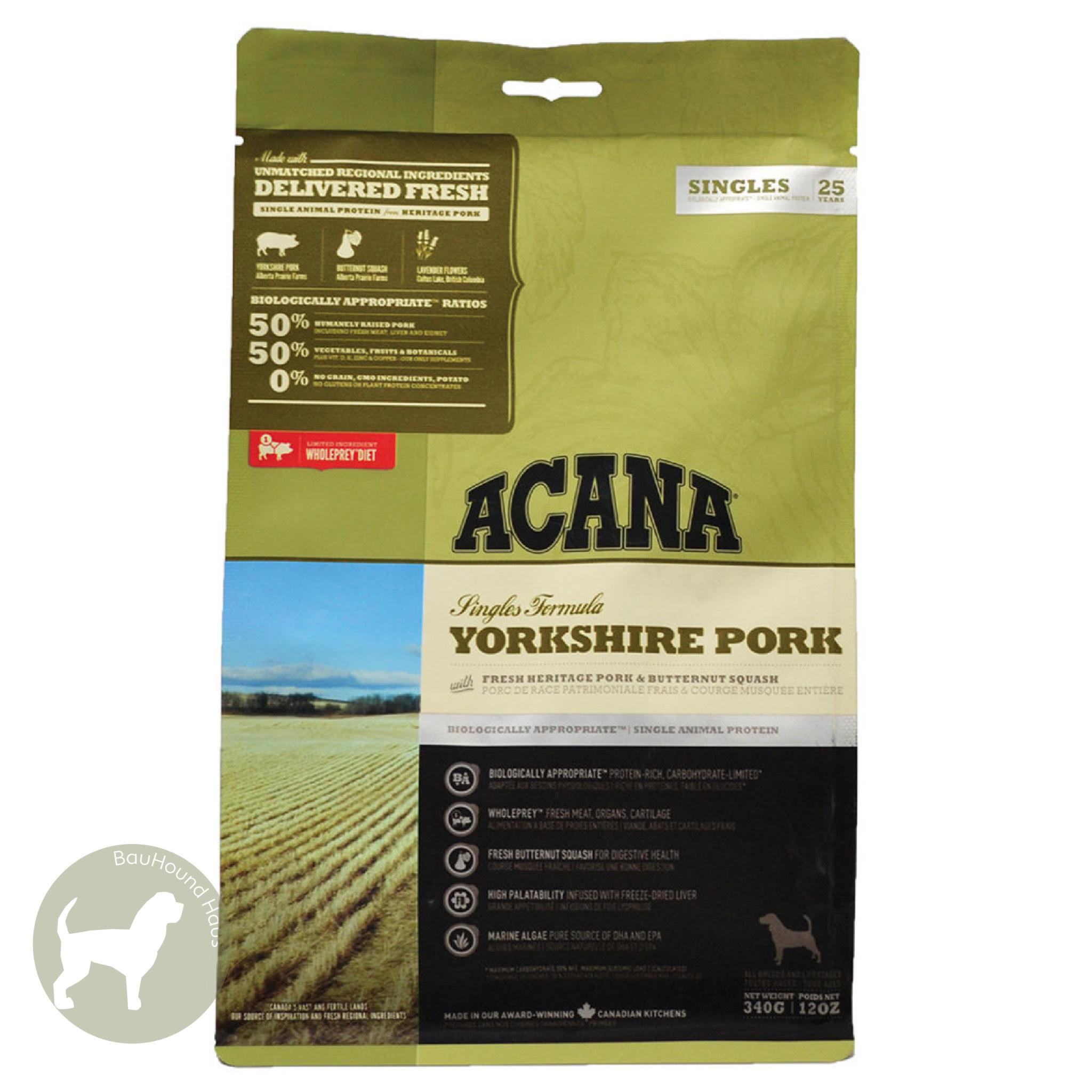 Acana Acana SINGLES Grain-Free Yorkshire Pork Kibble, 11.4 kg