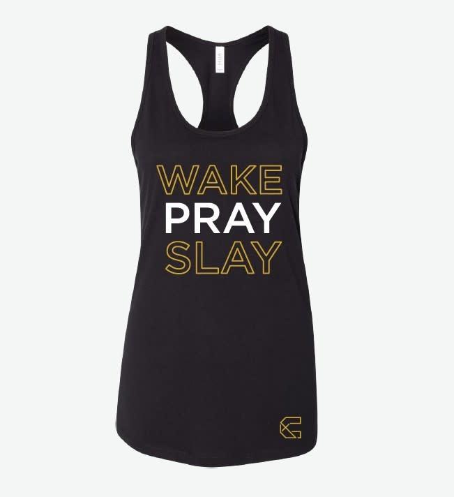 LADIES TANK:  BLACK WAKE PRAY SLAY