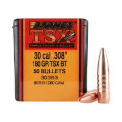 "Barnes TSX 30 Cal .308"" 180GR TSX BT"
