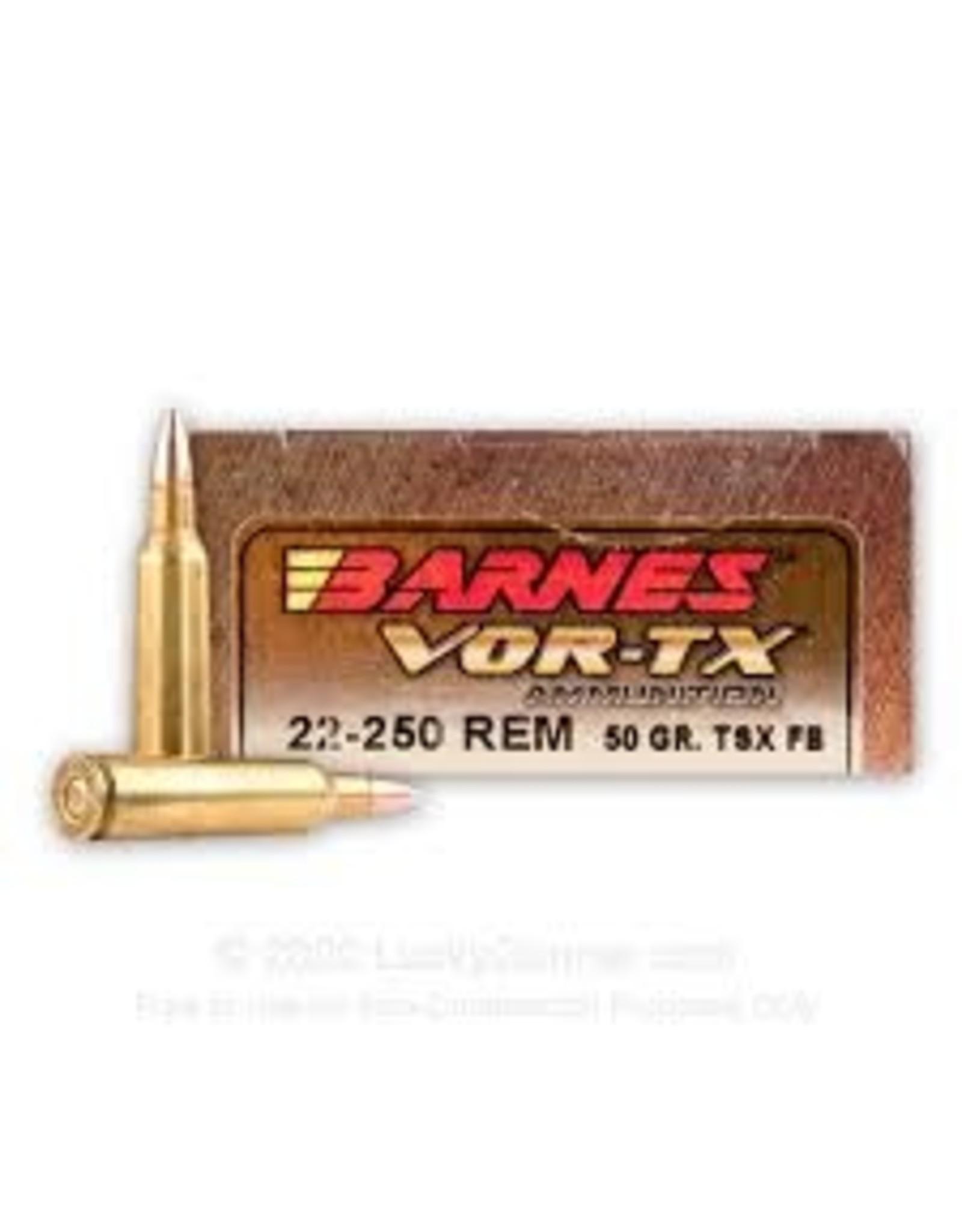 Barnes Barnes VOR-TX Rifle Ammo 22-250 REM, TSX FB, 50 Grains, 3830 fps