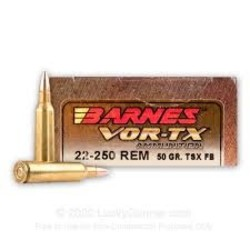 Barnes VOR-TX Rifle Ammo 22-250 REM, TSX FB, 50 Grains, 3830 fps
