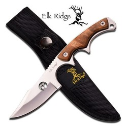 "Elk Ridge Fixed Blade 7"" Burl Wood Handle"
