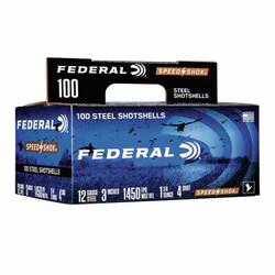 "Federal 4 Speed Shok Waterfowl Shotshell 12 Ga, 3"", 1-1/4oz 1450fps #4, 100 Pack"