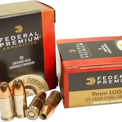 Federal Premium Personal Defense Pistol Ammo 9MM Hydra-Shok JHP 124 Gr 20ct