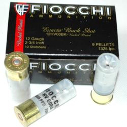 """Fiocchi 12GA 2-3/4"""" 1325 FPS 10 Shotshells 9 Pellets"""