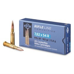 PPU Rifle Ammo 7.62x54R Match FMJ 182gr 20 Rounds