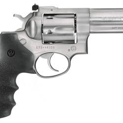 "Ruger 01705 GP100 Std Revolver 357 MAG 4.2"" Rubber Mo Medium Satin SS Frame Combat Trigger"