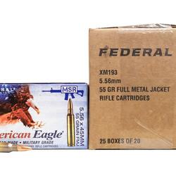 Federal 5.56mm 55GR FMJ-BT 500 Rounds