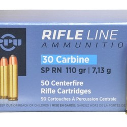 PPU  30 Carbine SP RN 110 GR 50 Rounds