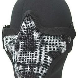 Gear Stock Half-Face Mesh Airsoft Mask Black Skull
