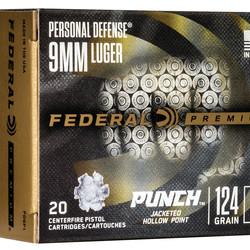 Federal Premium 9mm 124 GR Punch JHP 20ct