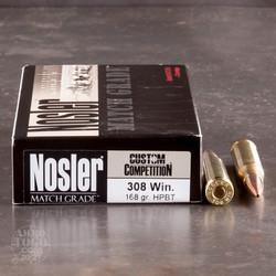 Nosler Match 308 WIN 168GR Custom Competition HPBT