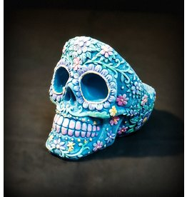 Sugar Skull Polyresin Ashtray - Aqua