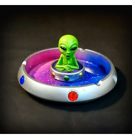 Alien in Flying Saucer Polyresin Ashtray