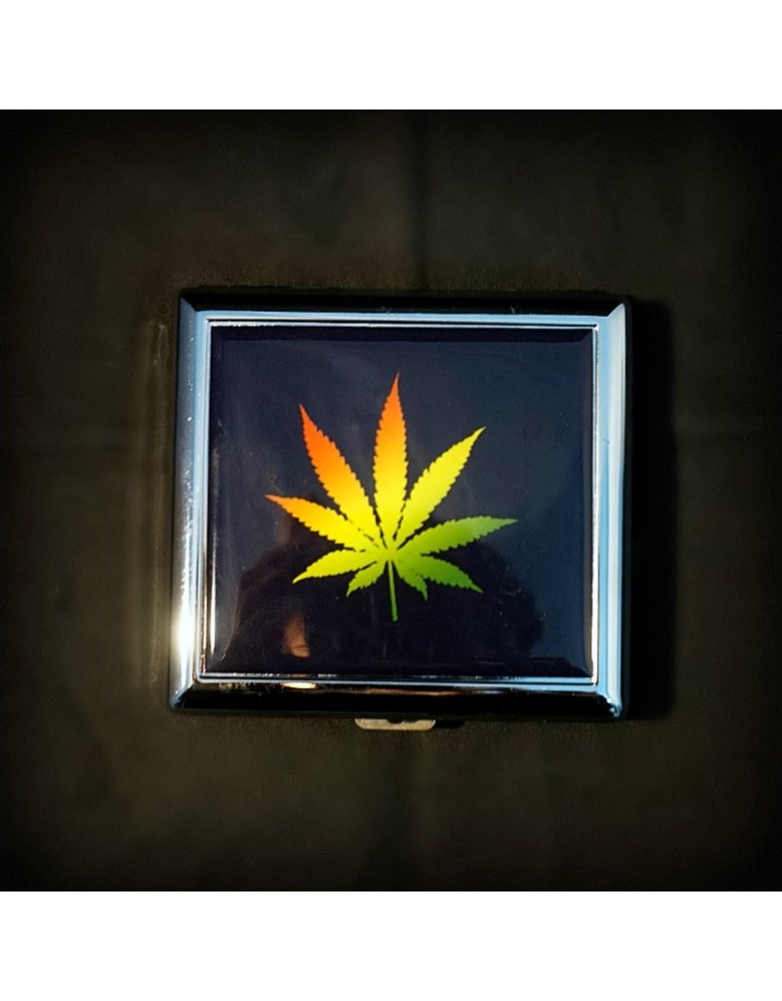 Cigarette Case 3x3 - Rasta Leaf