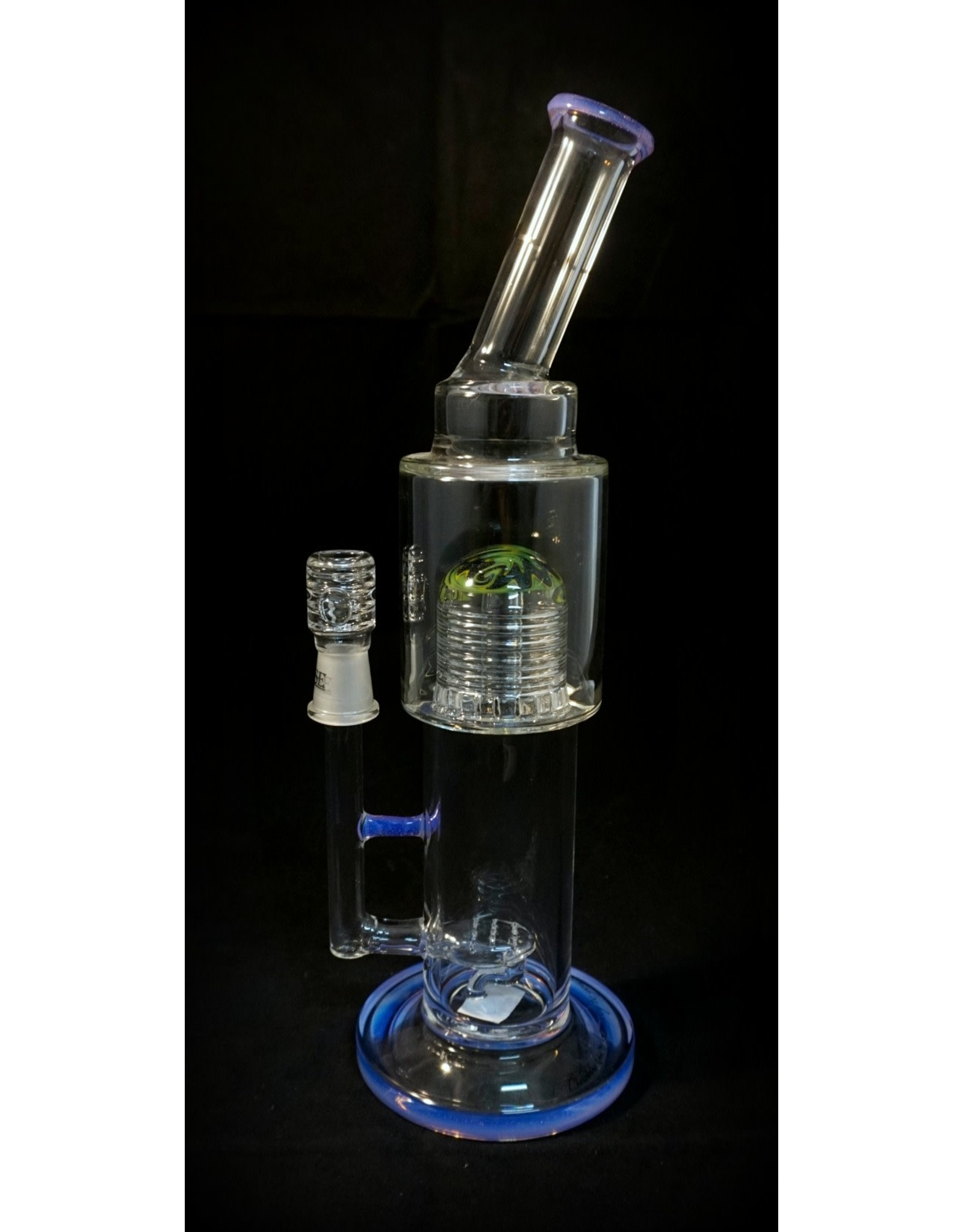 """Pulse Pulse - 12"""" Bent Neck Gridded Tongue Inline with Marble Center Purple Accents"""