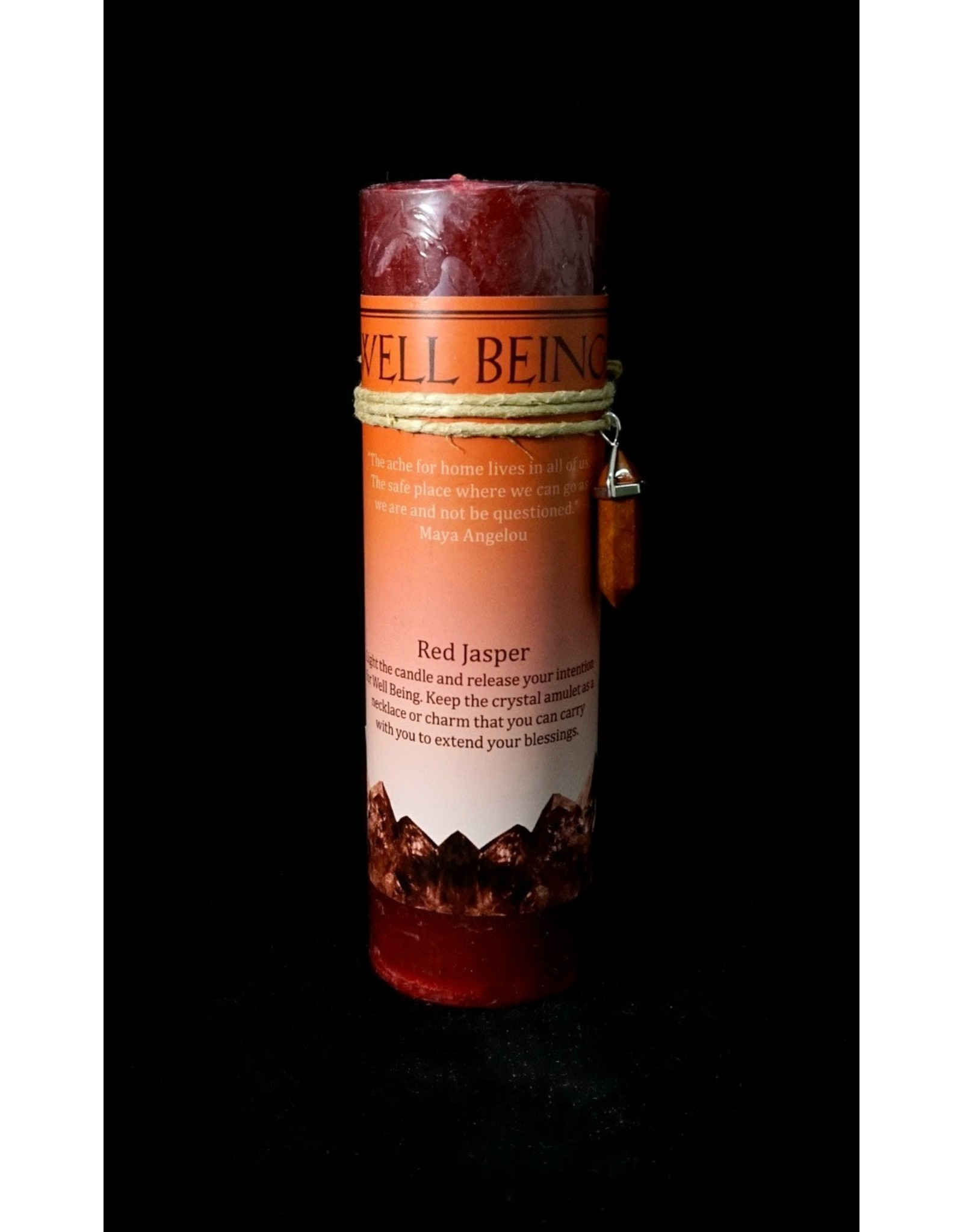Crystal Energy Pendant Candle -  Red Jasper Well Being