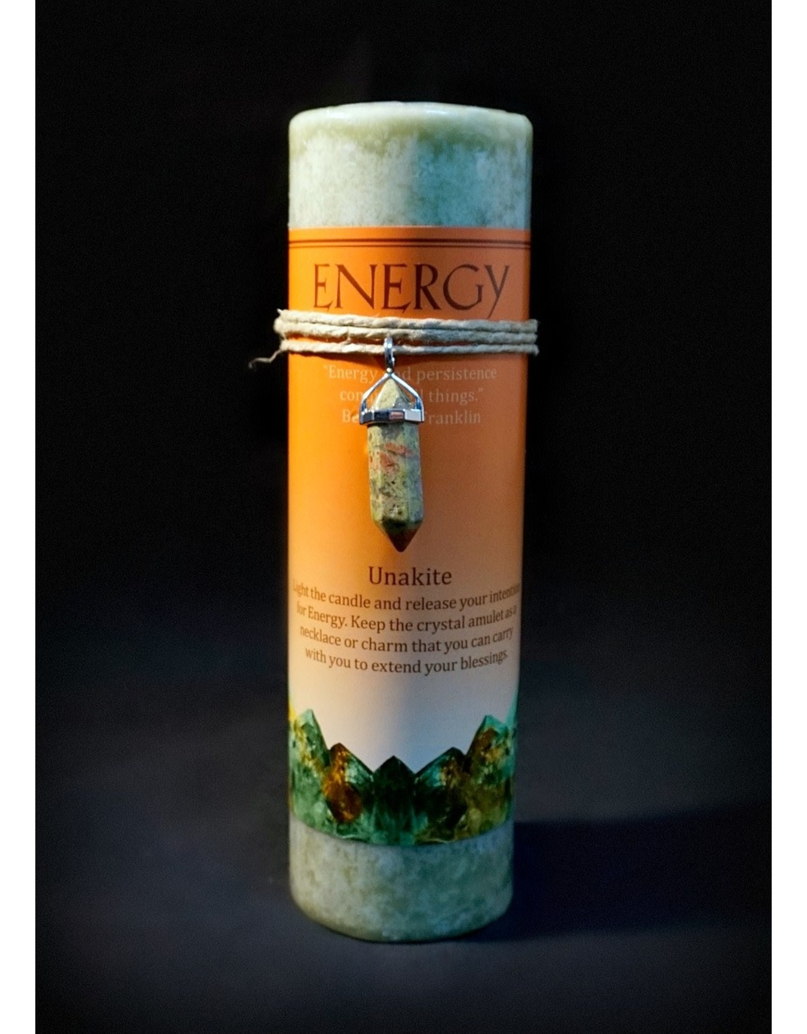 Crystal Energy Pendant Candle - Unakite Energy