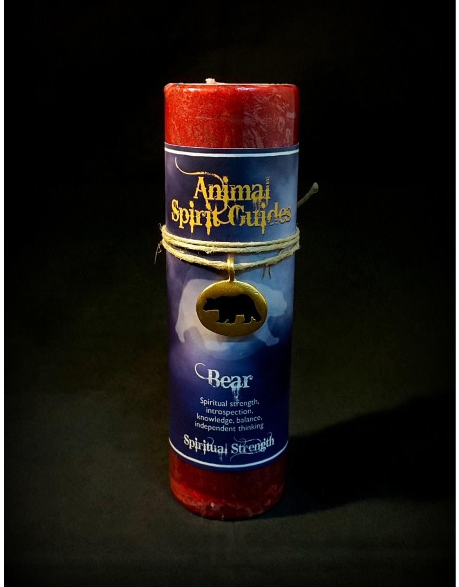 Animal Spirit Guide Pewter Pendant Candle - Bear Gold
