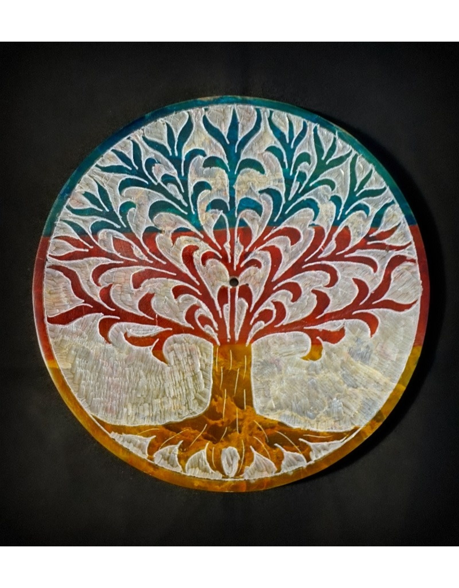 Colored Soapstone Round Incense Burner – Tree of Life