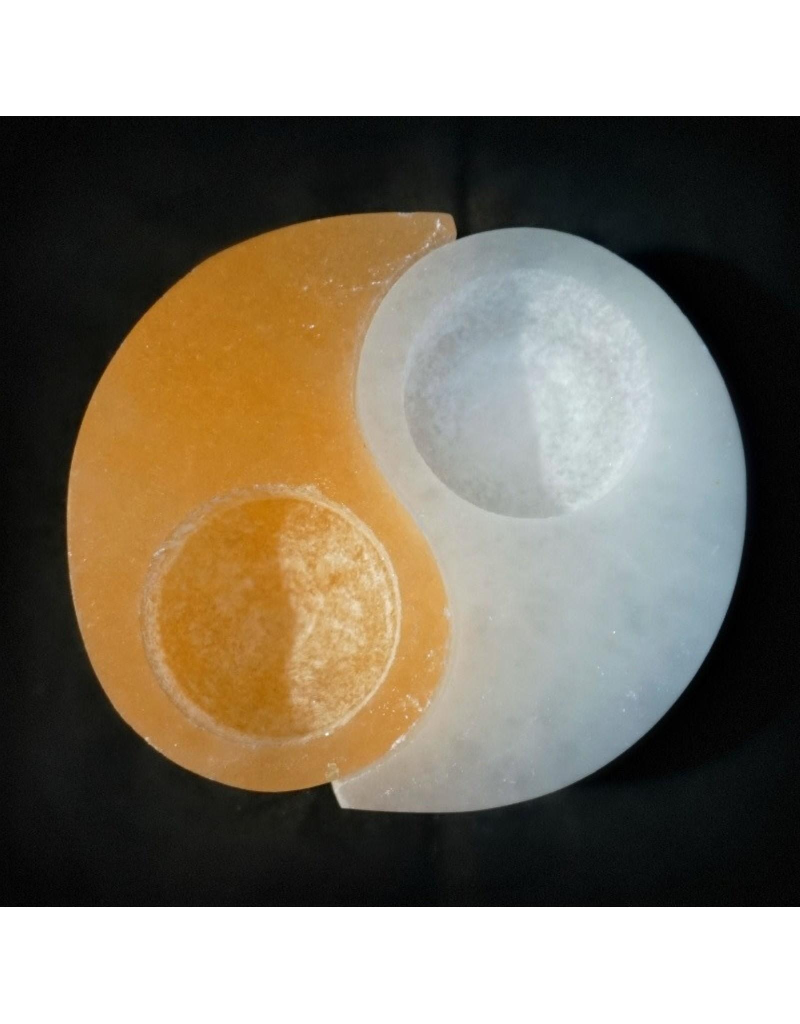 Orange Selenite Tea Light Holder