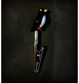 Small Glass Memo Clip - Penguin
