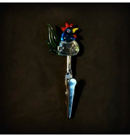 Small Glass Memo Clip - Rooster