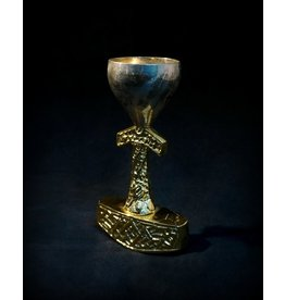"""4.5"""" Tarnished Silver Thor Hammer Chalice"""