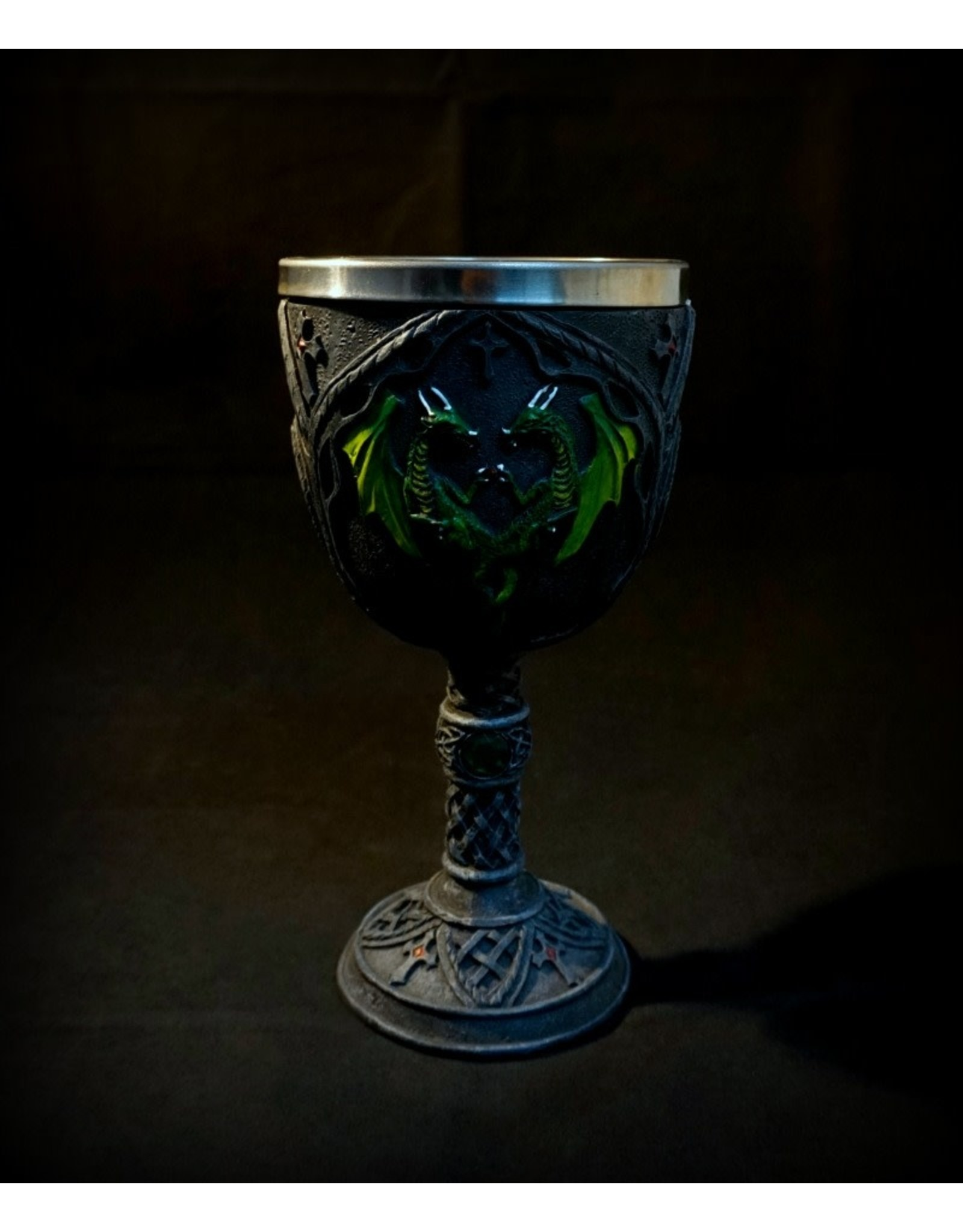 """7"""" Carved Double Green Dragons Chalice"""