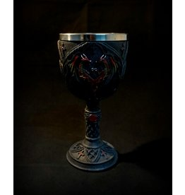 """7"""" Carved Double Red Dragons Chalice"""