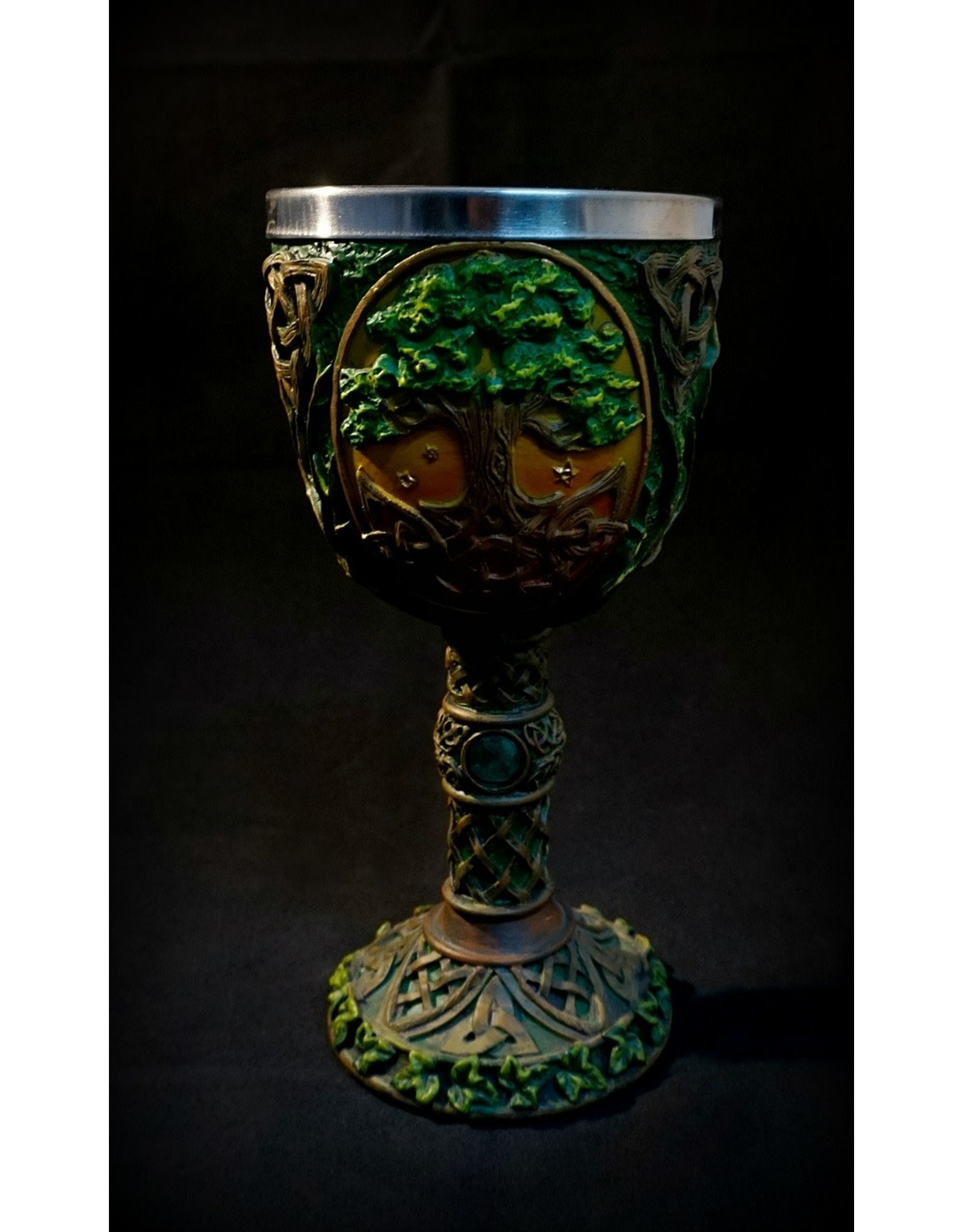 "7"" Carved Tree of Life Chalice"