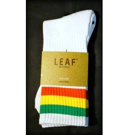 Leaf Socks – White with Rasta Stripes