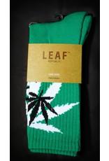 Leaf Socks - Green with White Black Leaves
