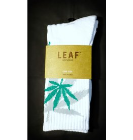 Leaf Socks - White with Green Gray Leaves