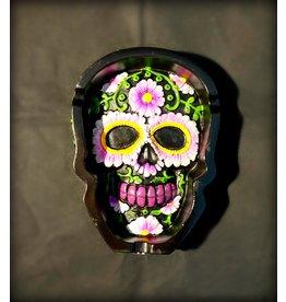 Sugar Skull Dish Ashtray - Black and Pink