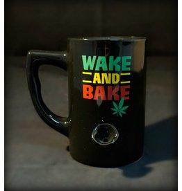 Ceramic Pipe Mug - Wake and Bake Rasta