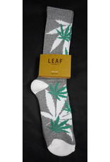 Leaf Socks - Gray with White Green Leaves