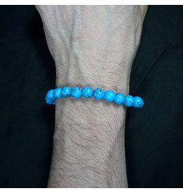 Elastic Bracelet 8mm Round Beads - Turquoise