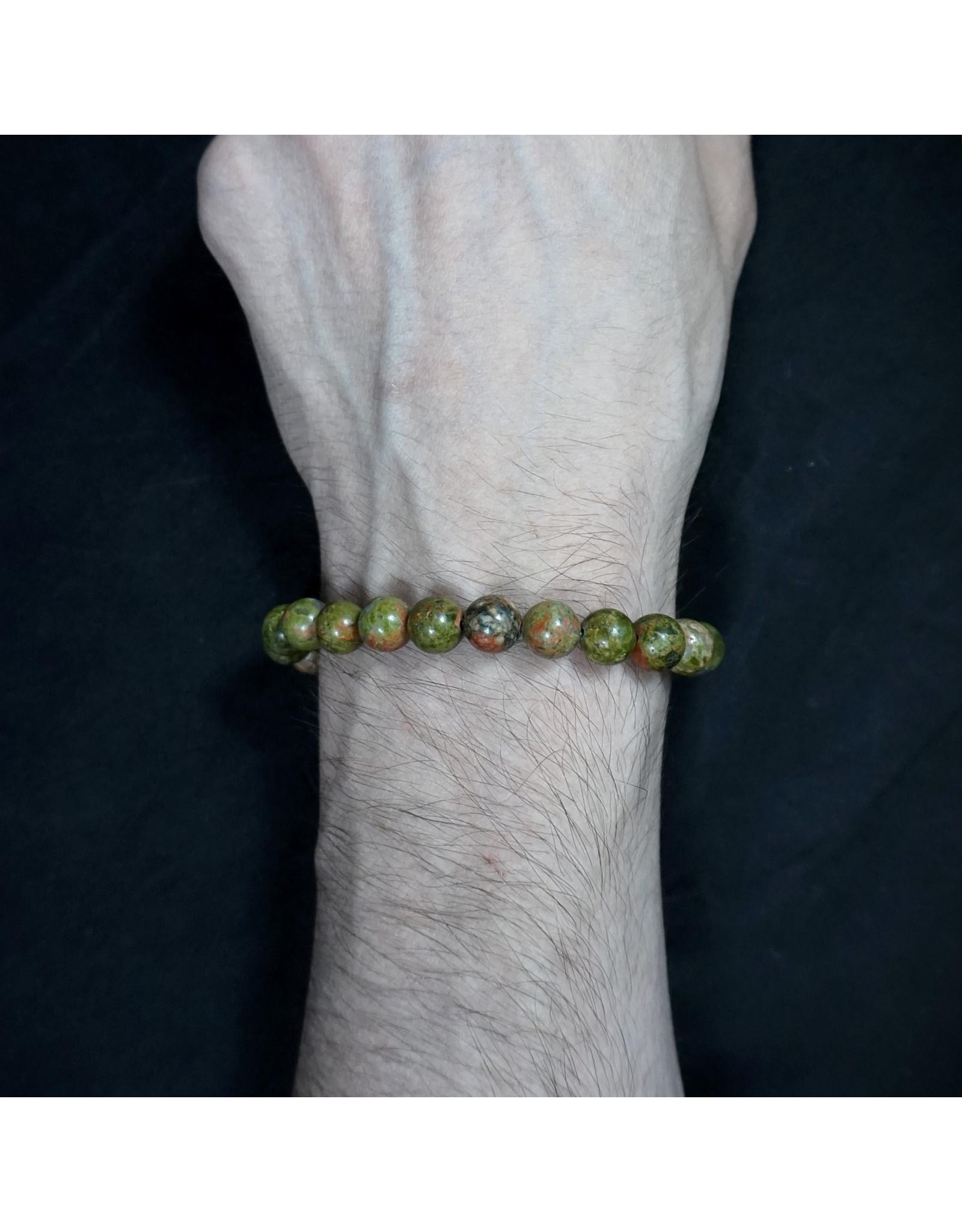 Elastic Bracelet 8mm Round Beads - Unakite