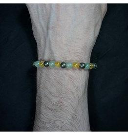6mm Aventurine, Green Citrine & Pyrite Bracelet
