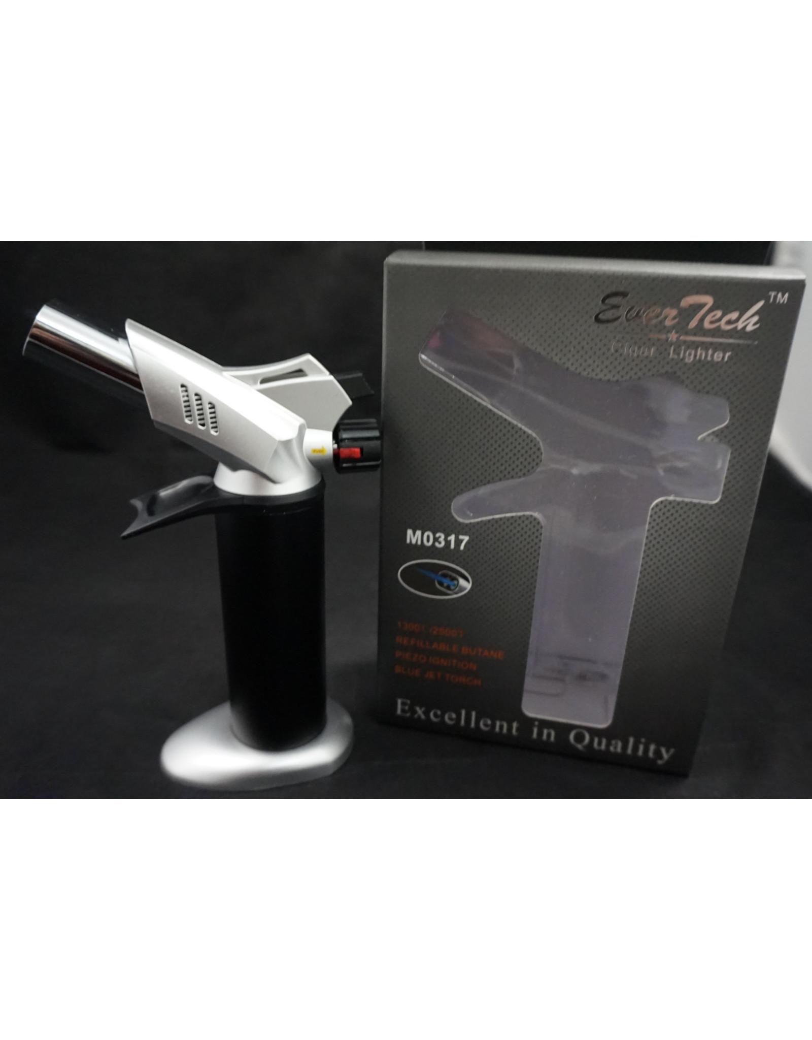 "EverTech Torch Lighter Dual Flame 6"" Sliver"