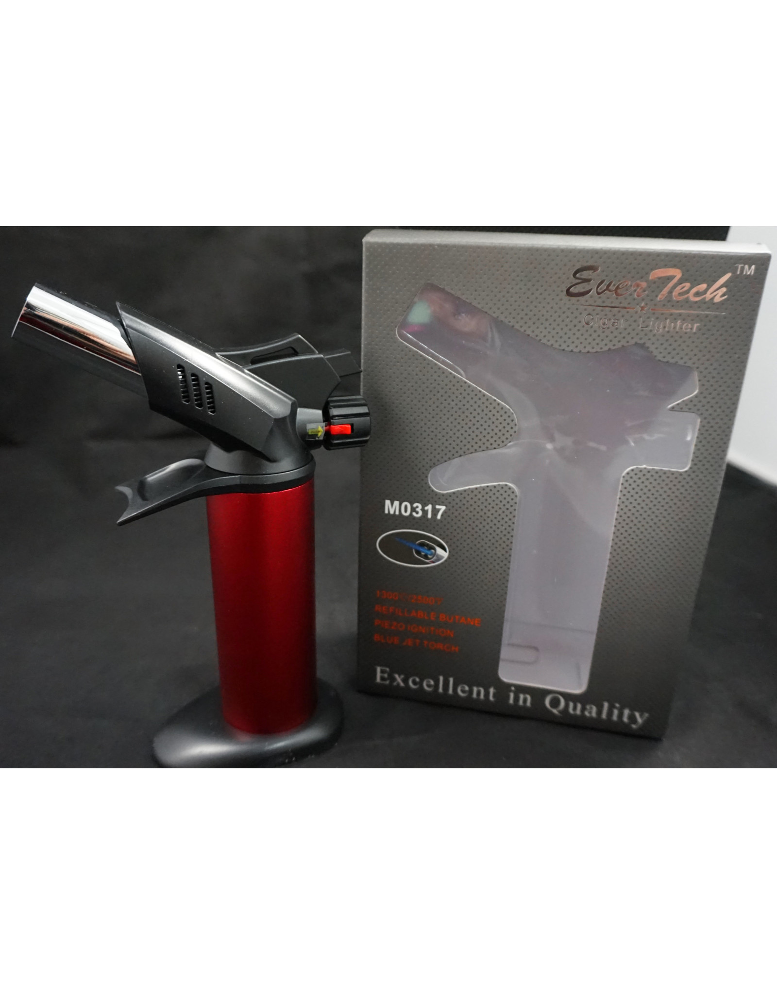 """EverTech Torch Lighter Dual Flame 6"""" Red"""