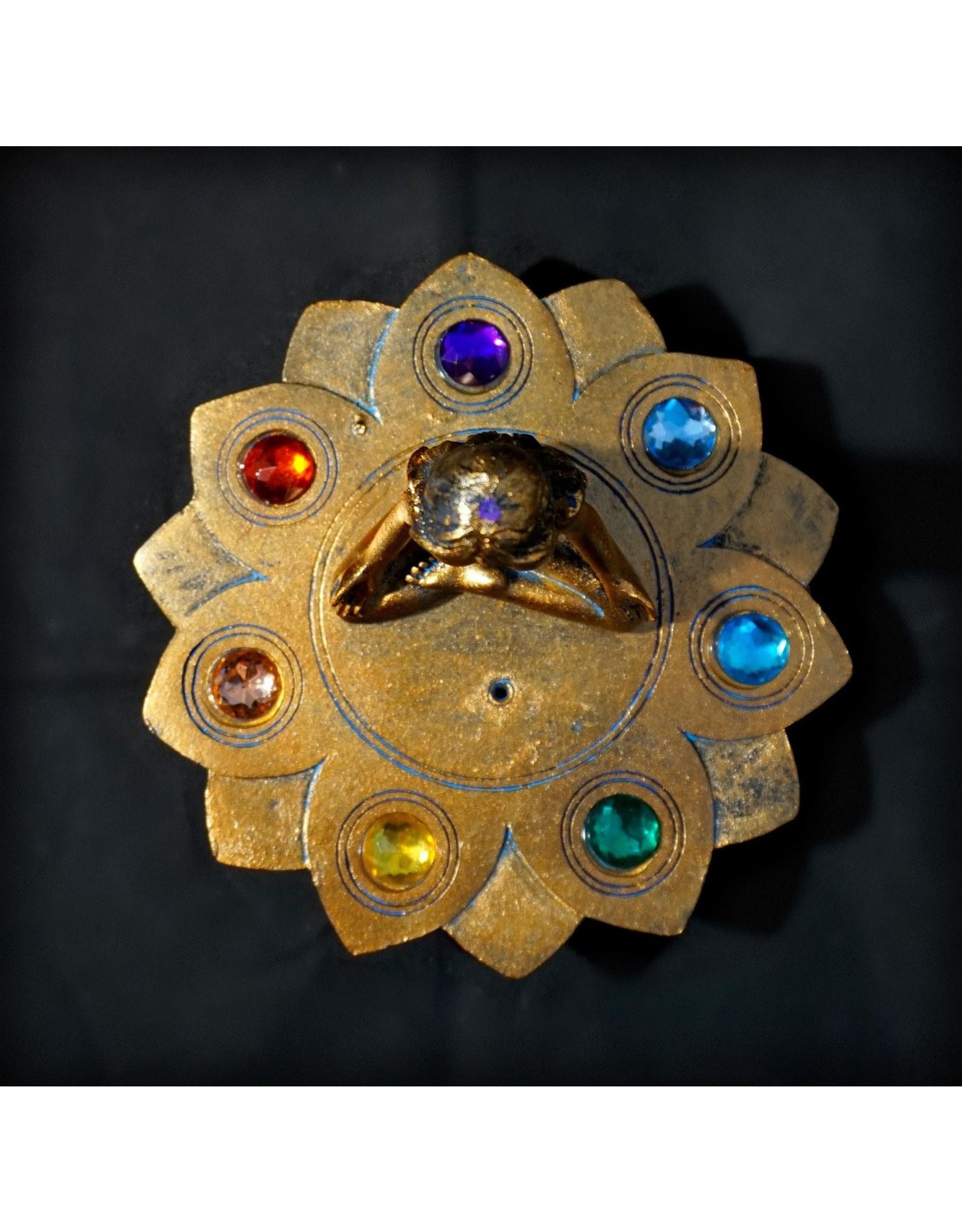 Bronze Chakra Stones Incense Burner