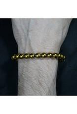 Elastic Bracelet 8mm Round Beads - Gold Plated Hematite