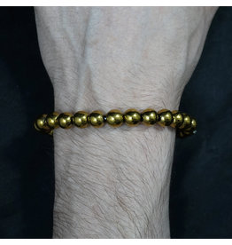 Elastic Bracelet 8mm Round Beads - Gold Plated Hematite