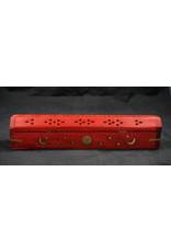 Celestial Wood Coffin Incense Burner - Red